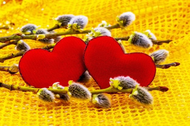 Deux coeurs rouges entre les branches de saule avec des boucles d'oreilles