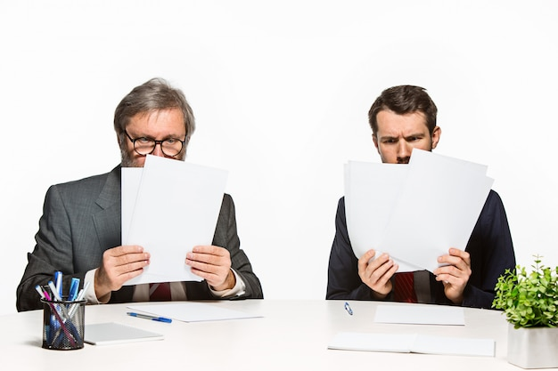 Les deux collègues travaillant ensemble au bureau.