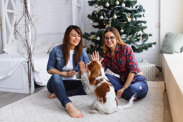 Deux copines avec chien sont assis sur le sol en souriant dans une pièce lumineuse sur le fond d'un arbre de noël