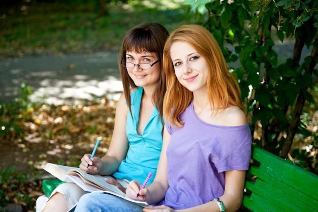 Deux copines à faire leurs devoirs au parc.