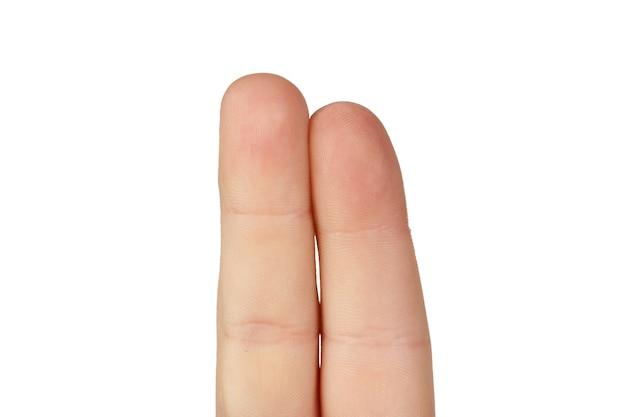 Deux doigts ensemble isolés sur fond blanc