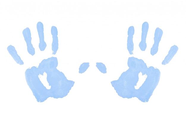 Deux empreintes de mains bleues symétriques