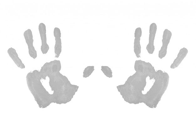 Deux empreintes de mains symétriques grises