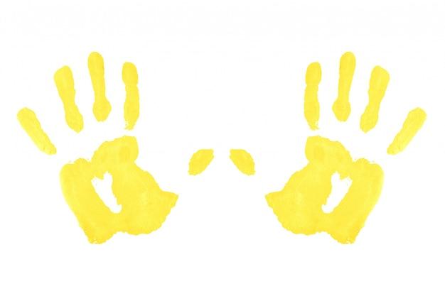 Deux empreintes de mains symétriques jaunes