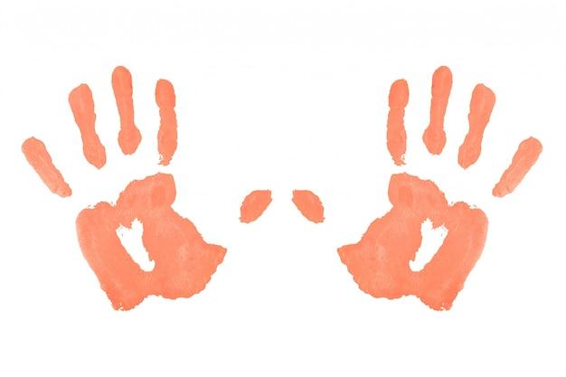 Deux empreintes de mains symétriques rouges