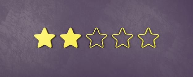 Deux étoiles sur cinq, concepts de mauvaise évaluation