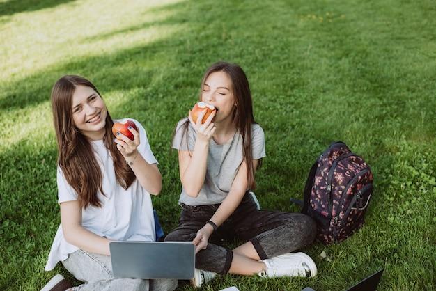 Deux étudiantes souriantes et heureuses sont assises dans le parc sur l'herbe avec des livres et des ordinateurs portables, mangent des pommes, étudient et se préparent aux examens. l'enseignement à distance. mise au point sélective douce.