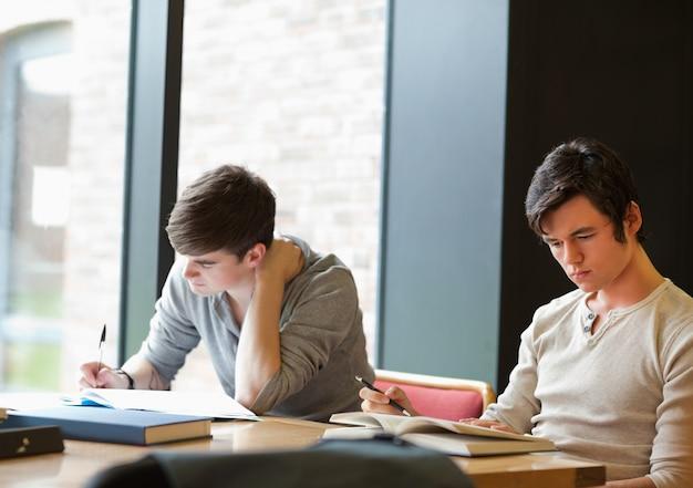 Deux étudiants travaillant sur une mission