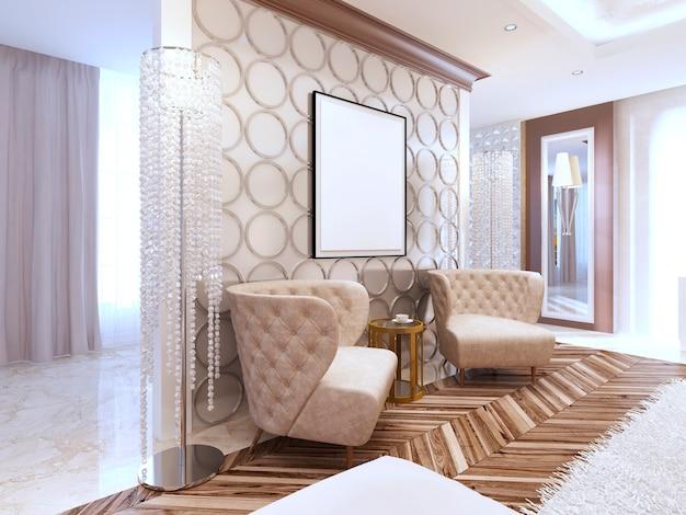 Deux fauteuils design en cuir provenant des murs intérieurs du salon de style art déco. mur avec des cercles décoratifs et la photo dessus. rendu 3d.