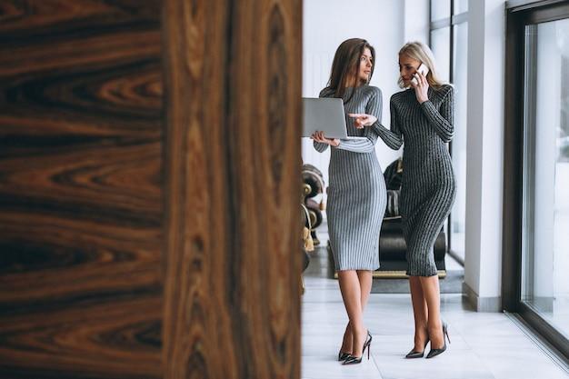 Deux, femme affaires, à, ordinateur