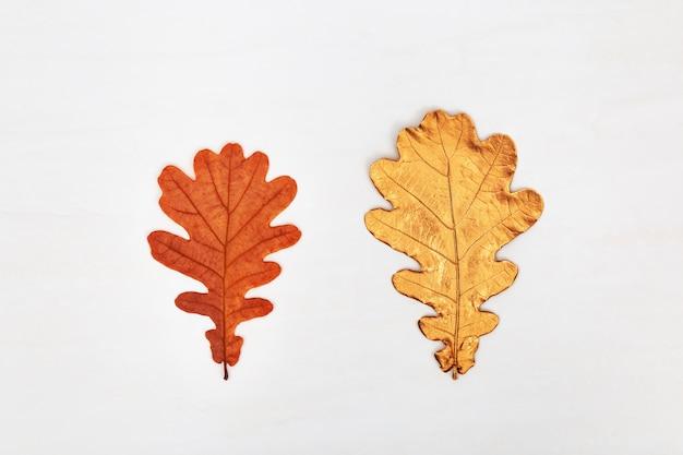 Deux feuilles de chêne, l'une jaune ou orange naturelle, l'autre couleur or peinte sur fond de béton clair. concept d'automne.