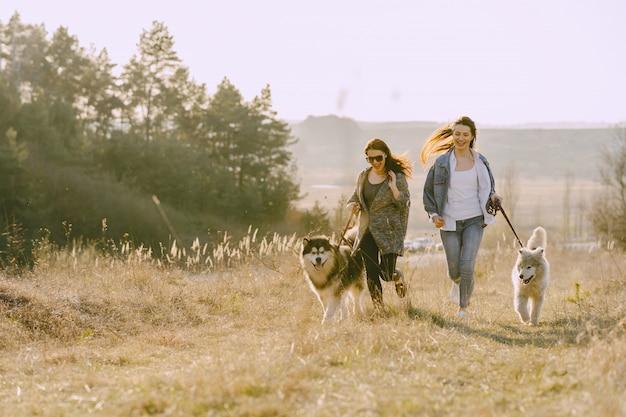 Deux filles élégantes dans un champ ensoleillé avec des chiens