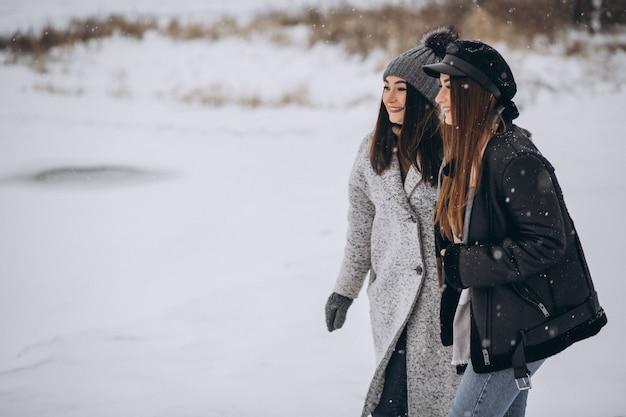 Deux filles marchant ensemble dans un parc d'hiver