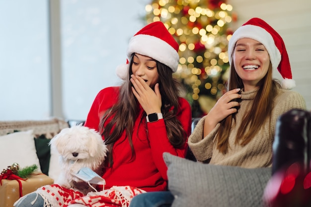 Deux filles avec un petit chien sont assises sur le canapé le soir du nouvel an.
