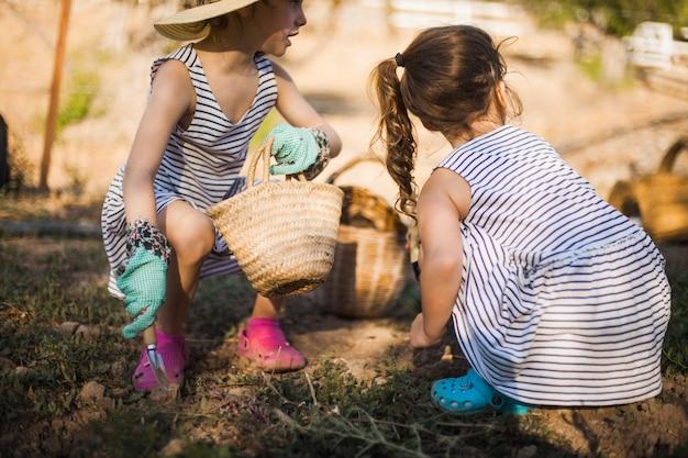 Deux filles travaillant sur le terrain