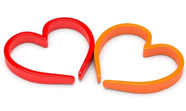 Deux formes de coeur abstraites isolés sur fond blanc