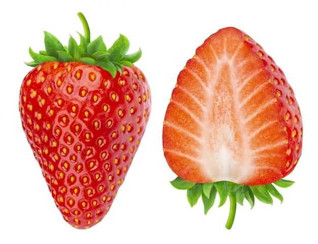 Deux fraises isolées