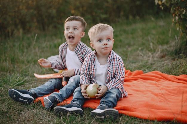 Deux frères jouant dans un champ d'été