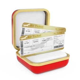 Deux golden business ou first class airline boarding pass fly air tickets dans la boîte-cadeau rouge sur fond blanc. rendu 3d