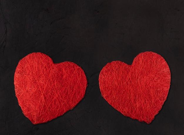 Deux grands coeurs. concept de la saint-valentin
