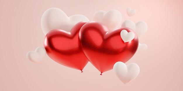 Deux grands coeurs rouges parmi de nombreux coeurs de couleur unie clair sur fond rose pastel.