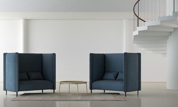 Deux grands fauteuils noirs sur sol en marbre et mur blanc avec fond d'escaliers
