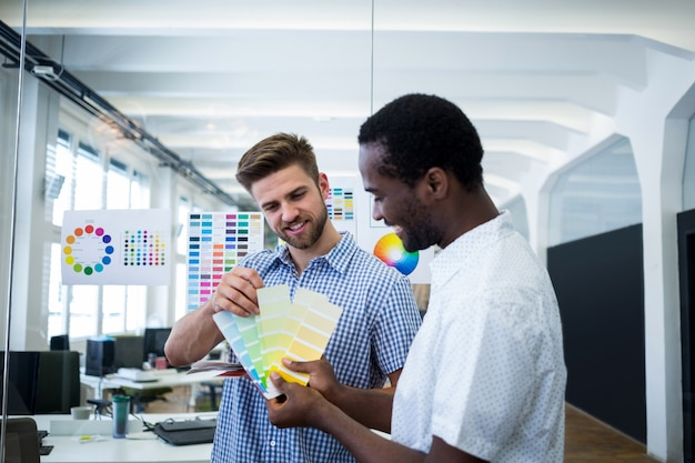 Deux graphistes mâles choisissent la couleur de l'échantillonneur