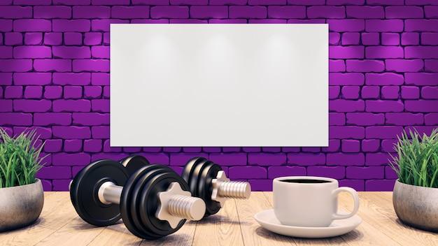 Deux haltères et une tasse de café sur une table en bois. affiche vierge sur le mur de brique violet.
