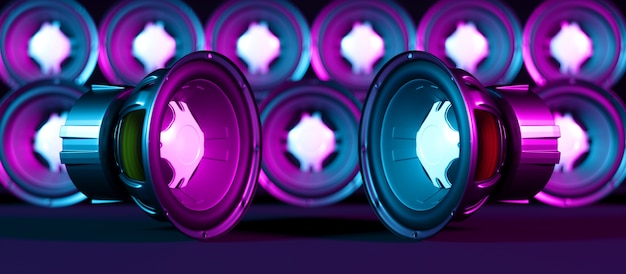 Deux haut-parleurs se trouvant l'un à côté de l'autre en néon dans le contexte de nombreux haut-parleurs, illustration 3d