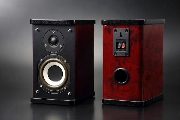 Deux haut-parleurs stéréo sur fond sombre