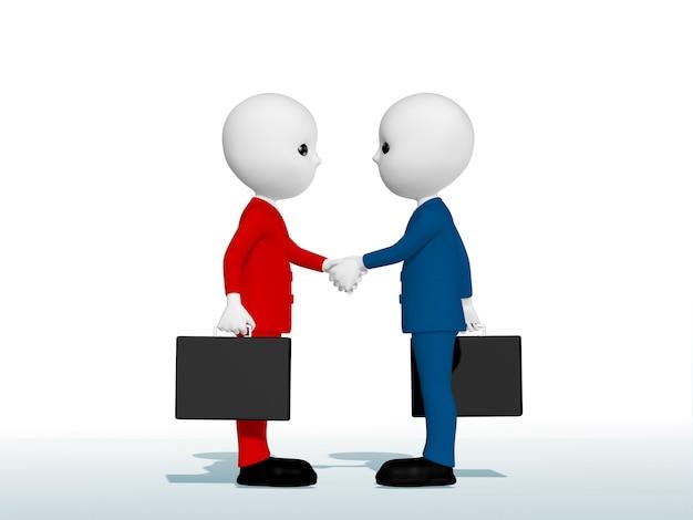 Deux hommes d'affaires se serrant la main salutations au contrat faisant des affaires ensemble 3d