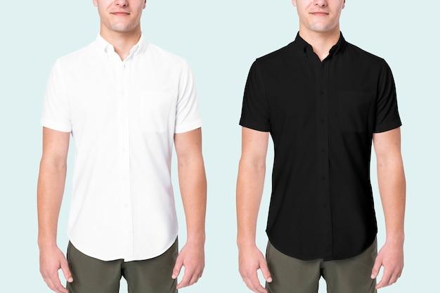Deux hommes portant une chemise noire et blanche