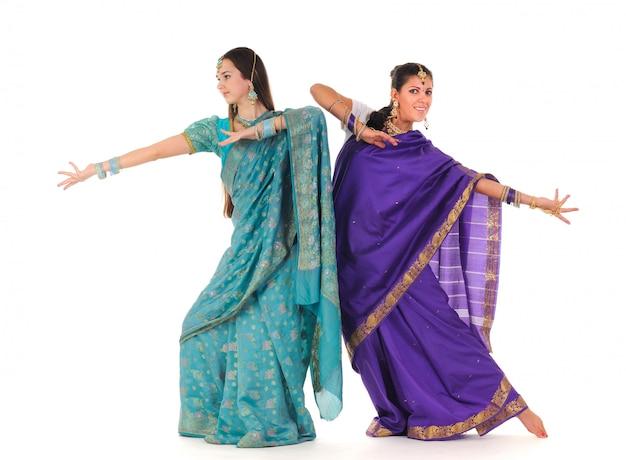 Deux, indien, femmes, projection, danse, élément