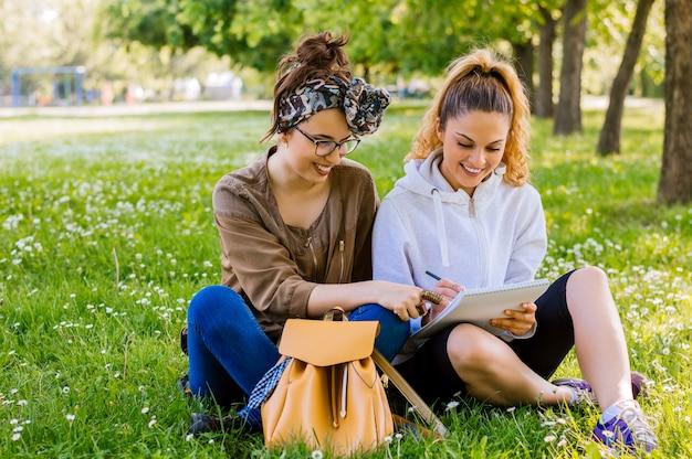 Deux, jeune femme, reposer herbe, étudier