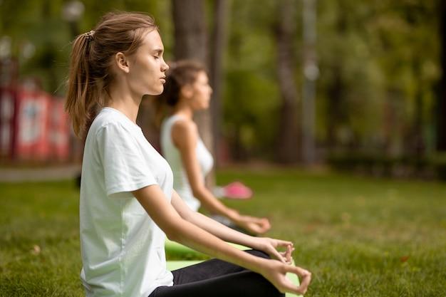 Deux jeunes filles minces sont assises dans la position du lotus, les yeux fermés, faisant du yoga sur des tapis de yoga sur de l'herbe verte dans le parc par une chaude journée.