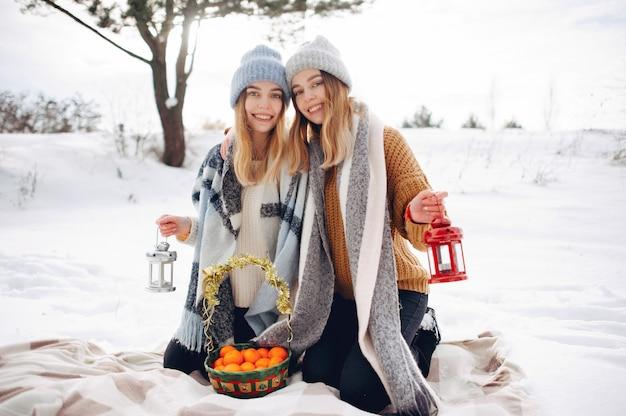 Deux jolies filles dans un parc d'hiver