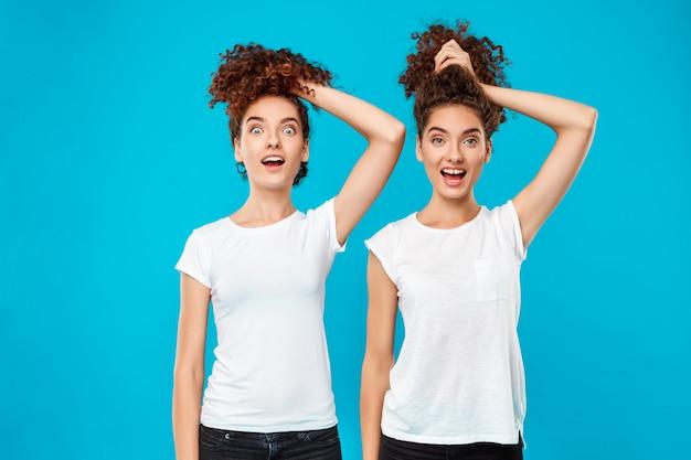 Deux jumeaux surpris de femme tenant des cheveux, plaisantant sur le bleu.