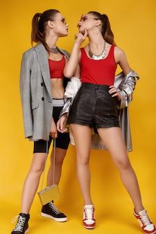 Deux jumelles élégantes hipster glamour en top mode rouge, short noir