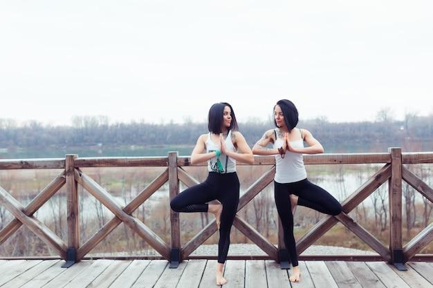 Deux jumelles sportives attrayantes travaillent sur une pose de yoga d'arbre sur un tapis noir à l'extérieur sur la nature