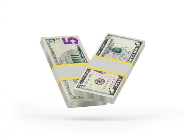 Deux liasses de billets de cinq dollars