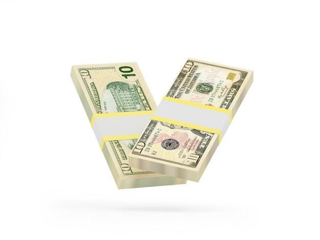 Deux liasses de billets de dix dollars