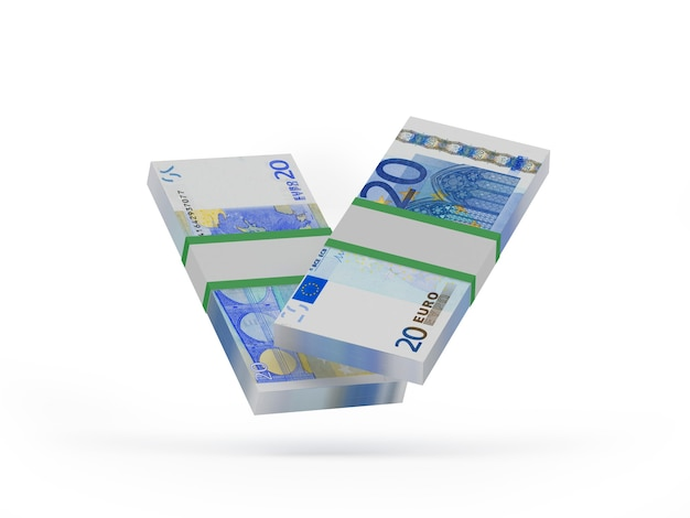 Deux liasses de vingt billets en euros