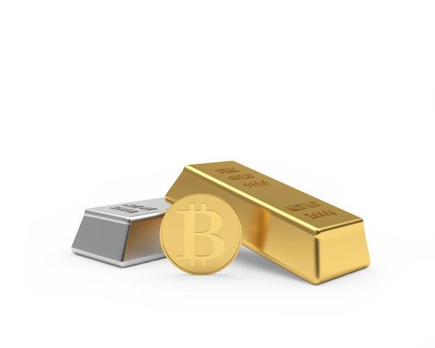 Deux Lingots D'or Et D'argent Avec Pièce De Bitcoin Photo Premium