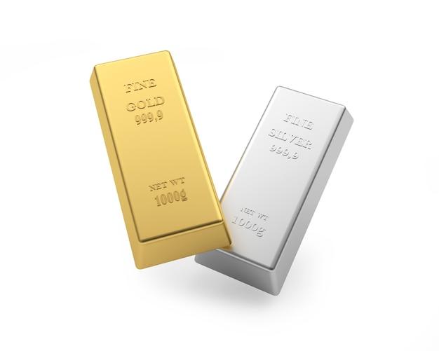 Deux lingots d'or et d'argent