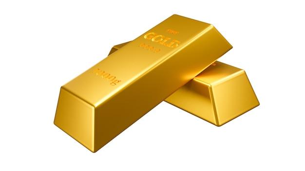 Deux lingots d'or sur fond blanc isolé