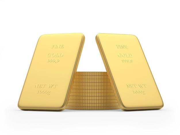 Deux lingots d'or et une pile de pièces 3d