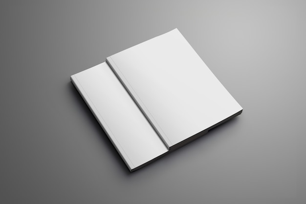 Deux magazines a4 (a5) fermés vierges avec des ombres douces isolées sur une surface grise. l'une des brochures se trouve dans la deuxième brochure.