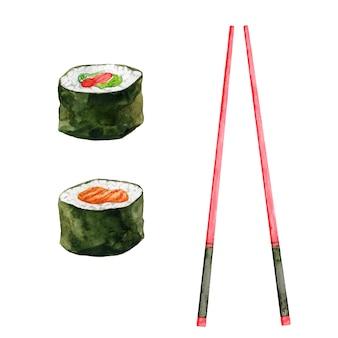 Deux makis sushi et baguettes rouges