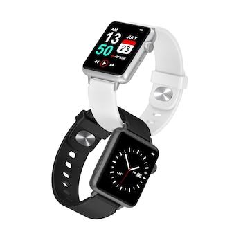 Deux montres intelligentes modernes en noir et blanc avec sangles sur fond blanc. rendu 3d