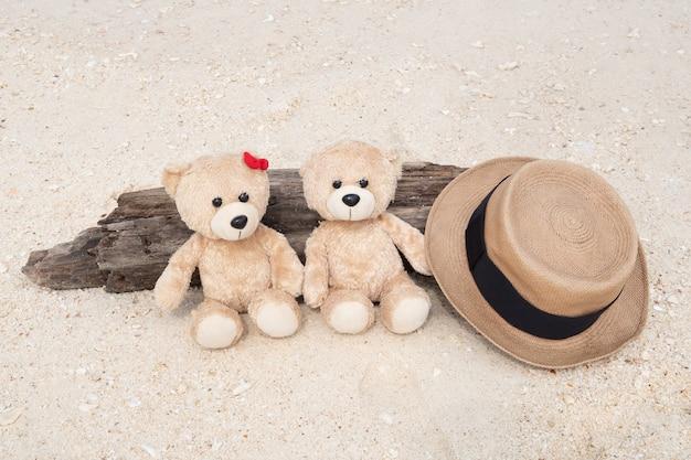 Deux ours en peluche assis sur le bois avec vue sur la mer